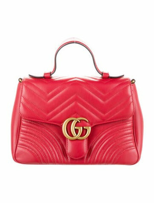 Gucci GG Marmont Small Matelasse Top Handle Bag Red