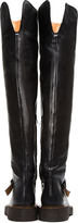 Maison Martin Margiela Black Leather Over The Knee Crepe Sole Boots