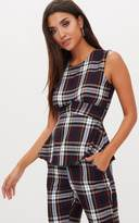PrettyLittleThing Navy Tartan Mix Check Structured Top