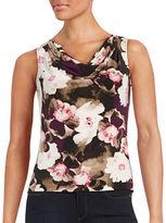 Calvin Klein Petite Floral-Print Cowl-Neck Sleeveless Top