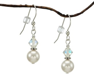 Handmade Jewelry by Dawn White Pearl Double Bead Sterling Silver Earrings
