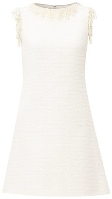 Giambattista Valli Pearl-embellished Cotton-blend Tweed Mini Dress - White