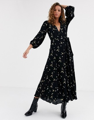 Ghost emilie maxi dress with star embroidery-Black