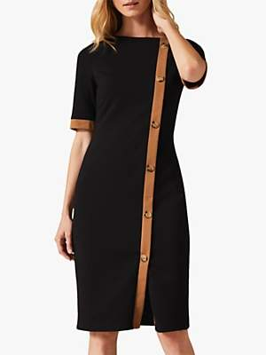 Phase Eight Reema Fitted Dress, Black/Camel