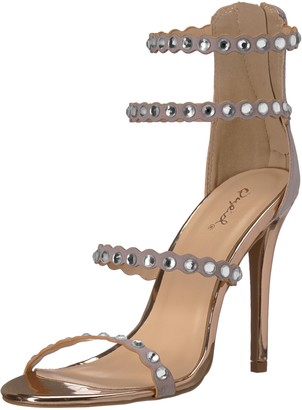 Qupid Women's Single Sole Sandal with Rhinestones Heeled
