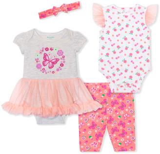Nannette Baby Girls' Infant Bodysuits PEACH - Peach & Gray Butterfly Skirted Bodysuit Set - Newborn & Infant