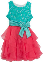 Rare Editions Lace Bodice to Cascade Mesh Dress - Girls' 7-16
