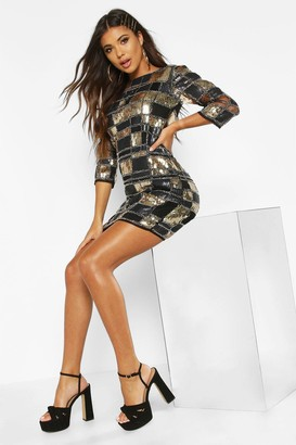boohoo Boutique Sequin 3/4 Sleeve Bodycon Dress