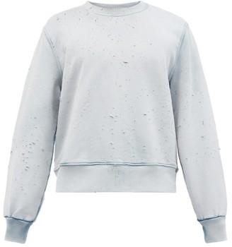 Amiri Distressed Cotton-jersey Sweatshirt - Blue