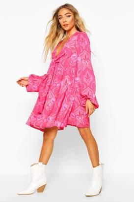 boohoo Paisley Print Tie Front Skater Dress