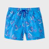 Paul Smith Men's Sky Blue 'Leopard Frog' Print Swim Shorts