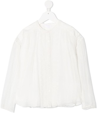 Chloé Kids Embroidered Detail Silk Blouse