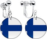 Body Candy Finland Flag Clip on Earrings