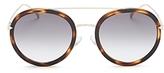 Fendi Combo Round Sunglasses with Brow Bar, 50mm