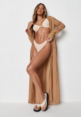 Missguided Tan Chiffon Tie Waist Kimono Maxi Beach Cover Up