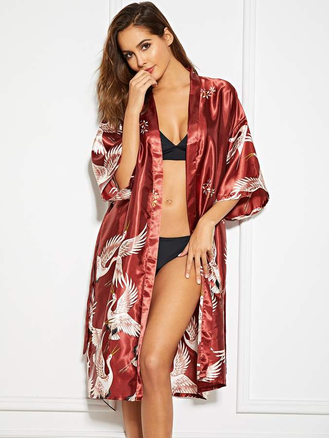 Crane Print Self Belted Satin Robe