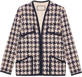 Gucci Houndstooth V-neck jacket