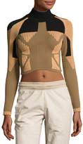 Yeezy Ribbed Mock-Neck Crop Top, Taupe