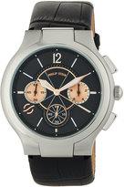 Philip Stein Teslar Large Round Chronograph Watch w/ Calfskin Strap, Black