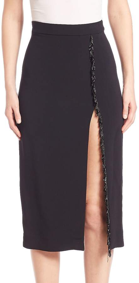 Cushnie et Ochs Women's Knee-Length Skirt with Fringed Trim