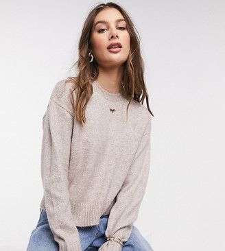 New Look Tall fine knit crew neck jumper in pink marl