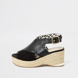 River Island Girls Black cross over straps wedge sandals