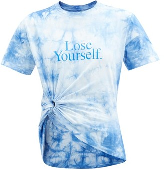 Paco Rabanne Lose Yourself Gathered Cotton-jersey T-shirt - Blue