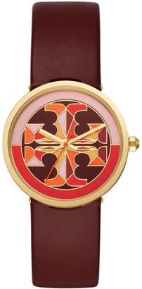 Tory Burch Reva Watch, Red Leather/Multi-Color, 36 Mm