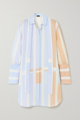 Akris Pussy-bow Striped Woven Mini Shirt Dress - Blue