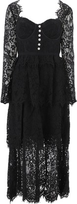 Self-Portrait Lace Tiered Midi Dress