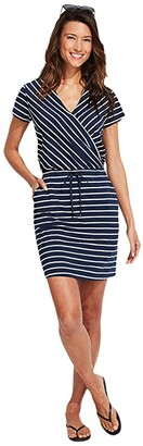Vineyard Vines Sankaty Striped Wrap Dress (Navy Stripe) Women's Dress