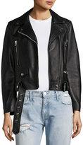 Acne Studios Mock Leather Moto Jacket, Black