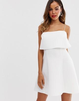 Asos Design DESIGN crop top scuba skater mini dress-White
