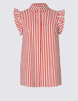 M&S Collection Pure Cotton Striped Ruffle Shirt