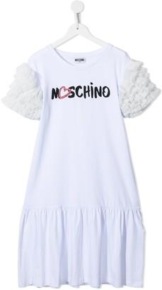 MOSCHINO BAMBINO TEEN logo-print ruffle-sleeve dress