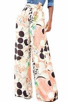 Melory Women' Cute Tropical Floral Print Palazzo Pant Long Wide Leg Pant Trouer Legging