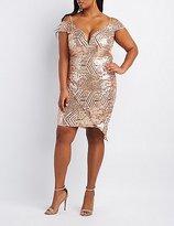 Charlotte Russe Plus Size Sequin Cold Shoulder Wrap Dress