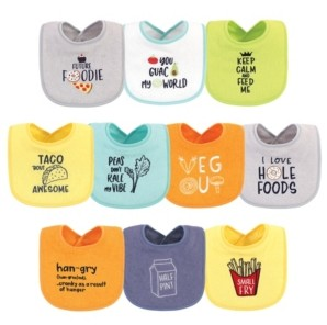 Hudson Baby Baby Girls and Boys Food Neutral Terry Drooler Bibs with Fiber Filling, Pack of 10
