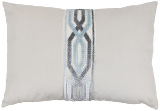 The Piper Collection Addison 14x20 Lumbar Pillow - Oyster/Blue Velvet