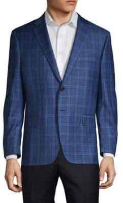 Hickey Freeman Single-Breasted Plaid Wool Suit Jacket
