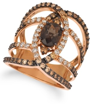 LeVian Le Vian Chocolate Quartz (1-1/8 ct. t.w.) & Diamond (1-1/3 ct. t.w.) Statement Ring in 14k Rose Gold