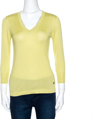 Celine Lime Green Cashmere Silk Long Sleeve Top S