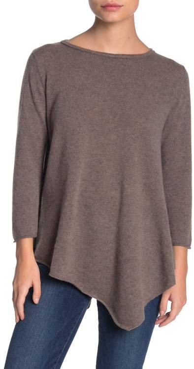 Magaschoni M BY Solid 3/4 Sleeve Cashmere Tunic Sweater (Petite)