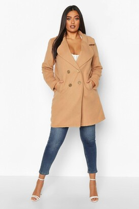boohoo Plus Double Breasted Button Wool Look Coat