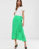 2nd Day Limelight Anemone floral print ruffle wrap midi skirt