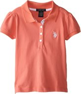 U.S. Polo Assn. Little Girls' Puff Sleeve Pique Polo