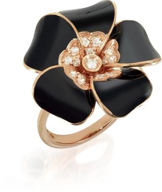 Rosato White Diamond, Black Enamel and Rose Gold Lily Ring