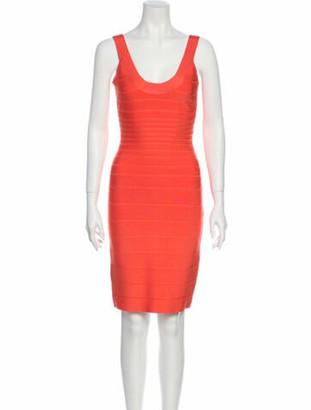Herve Leger Sydney Knee-Length Dress Orange