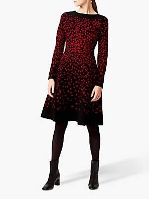 Hobbs Jodie Knitted Dress, Black/Red