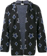 Saint Laurent star intarsia hooded cardigan